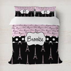 Paris Bonjour and Eiffel Tower Duvet Cover Set - Full / Queen (Personalized)