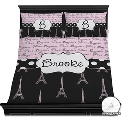 Paris Bonjour and Eiffel Tower Duvet Cover Set (Personalized)
