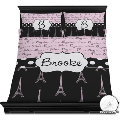 Paris Bonjour and Eiffel Tower Duvet Cover Set - Full / Queen (Personalized)