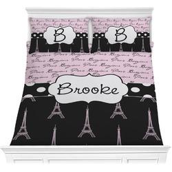 Paris Bonjour and Eiffel Tower Comforter Set (Personalized)