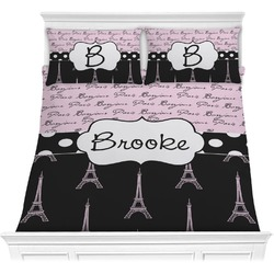 Paris Bonjour and Eiffel Tower Comforter Set - Full / Queen (Personalized)