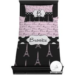 Paris Bonjour and Eiffel Tower Duvet Cover Set - Twin XL (Personalized)