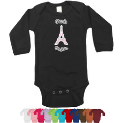 Paris Bonjour and Eiffel Tower Long Sleeves Bodysuit - 12 Colors (Personalized)