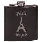 Paris Bonjour and Eiffel Tower Black Flask Set (Personalized)