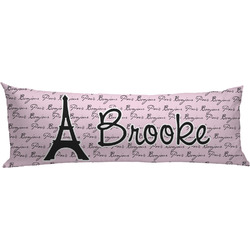 Paris Bonjour and Eiffel Tower Body Pillow Case (Personalized)