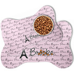 Paris Bonjour and Eiffel Tower Bone Shaped Dog Food Mat (Personalized)