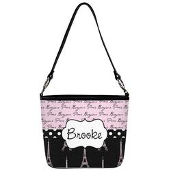 Paris Bonjour and Eiffel Tower Bucket Bag w/ Genuine Leather Trim (Personalized)