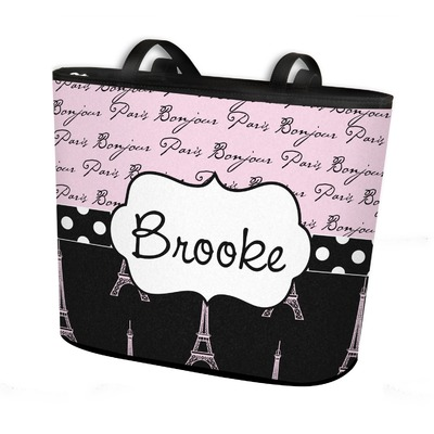 Paris Bonjour and Eiffel Tower Bucket Tote w/ Genuine Leather Trim (Personalized)