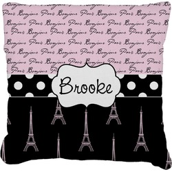 Paris Bonjour and Eiffel Tower Faux-Linen Throw Pillow (Personalized)