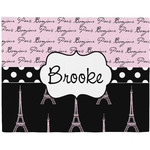 Paris Bonjour and Eiffel Tower Woven Fabric Placemat - Twill w/ Name or Text