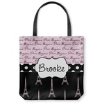 Paris Bonjour and Eiffel Tower Canvas Tote Bag (Personalized)
