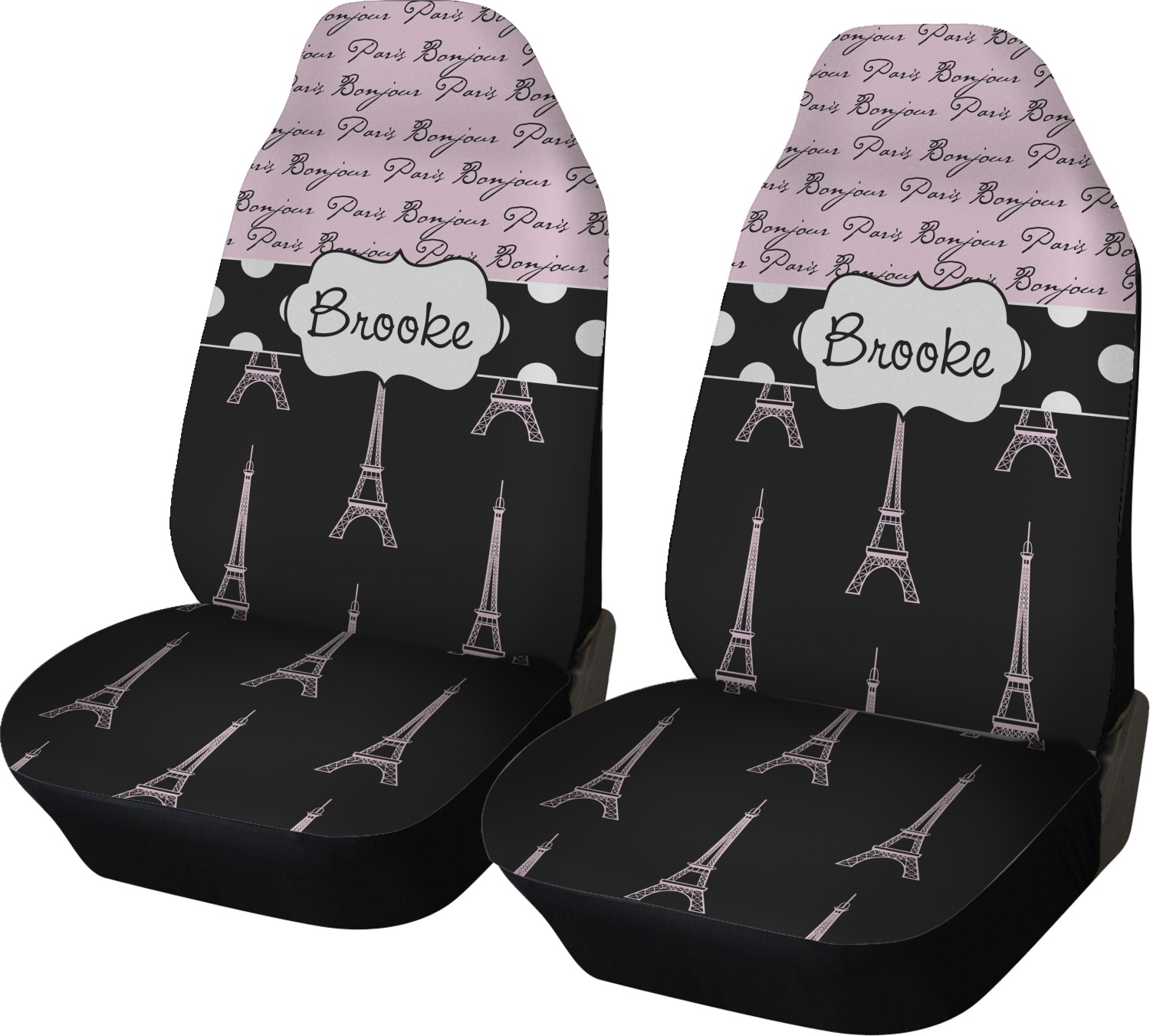 Paris Bonjour And Eiffel Tower Car Seat Covers Set Of Two