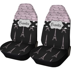 Paris Bonjour and Eiffel Tower Car Seat Covers (Set of Two) (Personalized)