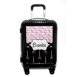 Paris Bonjour and Eiffel Tower Carry On Hard Shell Suitcase (Personalized)