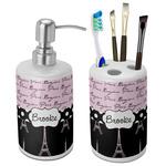 Paris Bonjour and Eiffel Tower Bathroom Accessories Set (Ceramic) (Personalized)