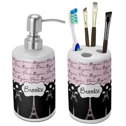 Paris Bonjour and Eiffel Tower Bathroom Accessories Set (Ceramic) (Personalized)