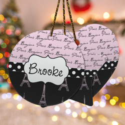 Paris Bonjour and Eiffel Tower Ceramic Ornament w/ Name or Text