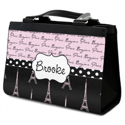 Paris Bonjour and Eiffel Tower Classic Tote Purse w/ Leather Trim (Personalized)