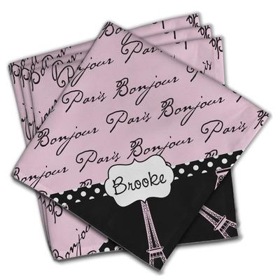 Paris Bonjour and Eiffel Tower Cloth Napkins (Set of 4) (Personalized)