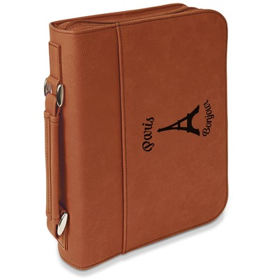 Paris Bonjour and Eiffel Tower Leatherette Book / Bible Cover with Handle & Zipper (Personalized)