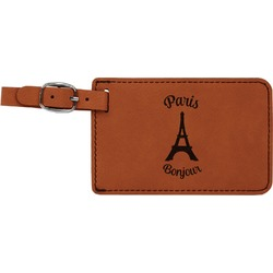 Paris Bonjour and Eiffel Tower Leatherette Luggage Tag (Personalized)