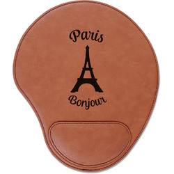 Paris Bonjour and Eiffel Tower Leatherette Mouse Pad with Wrist Support (Personalized)