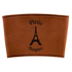 Paris Bonjour and Eiffel Tower Leatherette Cup Sleeve (Personalized)
