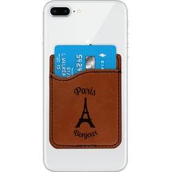 Paris Bonjour and Eiffel Tower Leatherette Phone Wallet (Personalized)