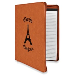 Paris Bonjour and Eiffel Tower Leatherette Zipper Portfolio with Notepad (Personalized)