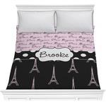 Paris Bonjour and Eiffel Tower Comforter (Personalized)