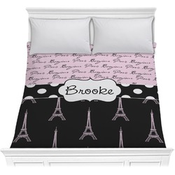 Paris Bonjour and Eiffel Tower Comforter (Personalized)
