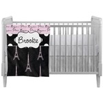 Paris Bonjour and Eiffel Tower Crib Comforter / Quilt (Personalized)