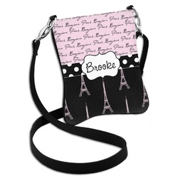 Paris Bonjour and Eiffel Tower Cross Body Bag - 2 Sizes (Personalized)