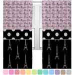 Paris Bonjour and Eiffel Tower Curtains (2 Panels Per Set) (Personalized)