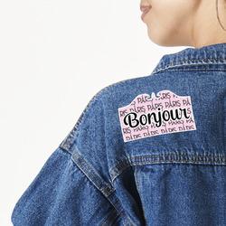Paris Bonjour and Eiffel Tower Large Custom Shape Patch (Personalized)