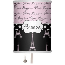 "Paris Bonjour and Eiffel Tower 7"" Drum Lamp Shade (Personalized)"