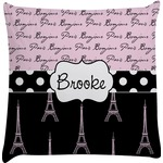 Paris Bonjour and Eiffel Tower Decorative Pillow Case (Personalized)