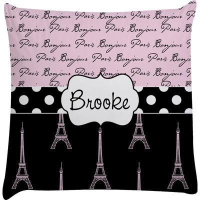 Paris Bonjour and Eiffel Tower Decorative Pillow Case (Personalized)