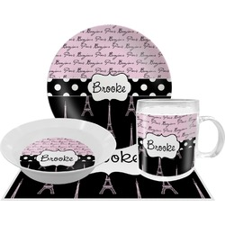 Paris Bonjour and Eiffel Tower Dinner Set - 4 Pc (Personalized)