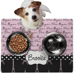 Paris Bonjour and Eiffel Tower Dog Food Mat - Medium w/ Name or Text