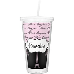 Paris Bonjour and Eiffel Tower Double Wall Tumbler with Straw (Personalized)