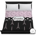 Paris Bonjour and Eiffel Tower Duvet Cover (Personalized)