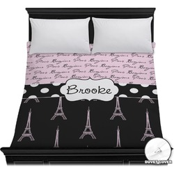 Paris Bonjour and Eiffel Tower Duvet Cover (Personalized)