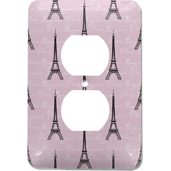 Paris Bonjour and Eiffel Tower Electric Outlet Plate (Personalized)