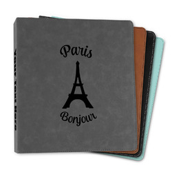"""Paris Bonjour and Eiffel Tower Leather Binder - 1"""" (Personalized)"""