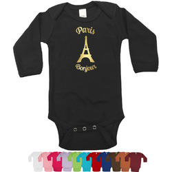 Paris Bonjour and Eiffel Tower Foil Bodysuit - Long Sleeves - 6-12 months - Gold, Silver or Rose Gold (Personalized)