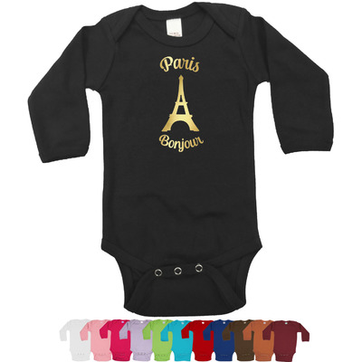 Paris Bonjour and Eiffel Tower Bodysuit w/Foil - Long Sleeves (Personalized)