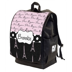 Paris Bonjour and Eiffel Tower Backpack w/ Front Flap  (Personalized)
