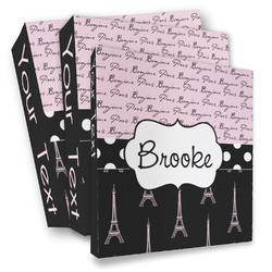 Paris Bonjour and Eiffel Tower 3 Ring Binder - Full Wrap (Personalized)