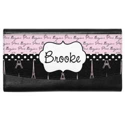 Paris Bonjour and Eiffel Tower Genuine Leather Ladies Wallet (Personalized)